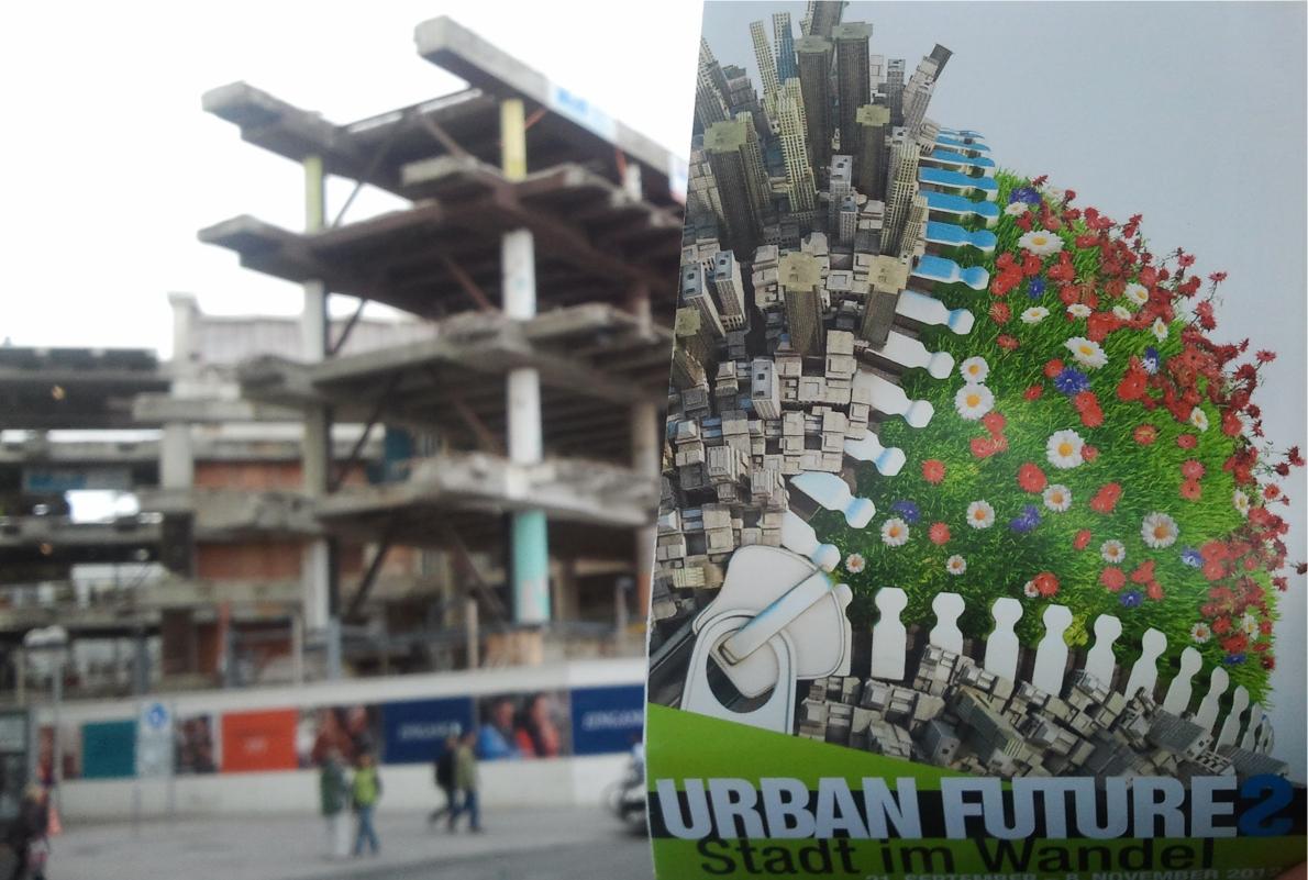 Rückbau eines Geschäftshauses in Hannover mit Reissverluss für Wiesenlandschaft, Flyer Urban Futures 2012, Stiftung Leben und Umwelt